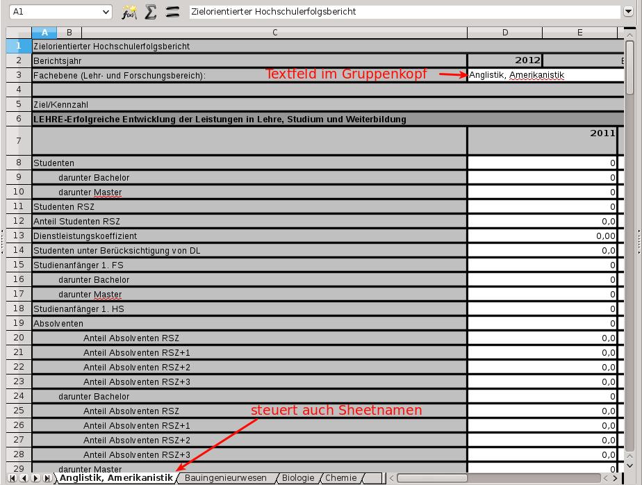 Excel-Export in einzelne Tabellenblätter
